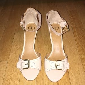 Nude Kelsi Dagger Straw & Leather Wedges